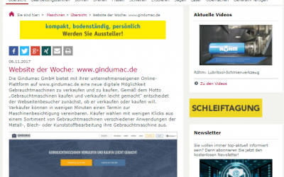 GINDUMAC als Webseite der Woche bei maschine+werkzeug
