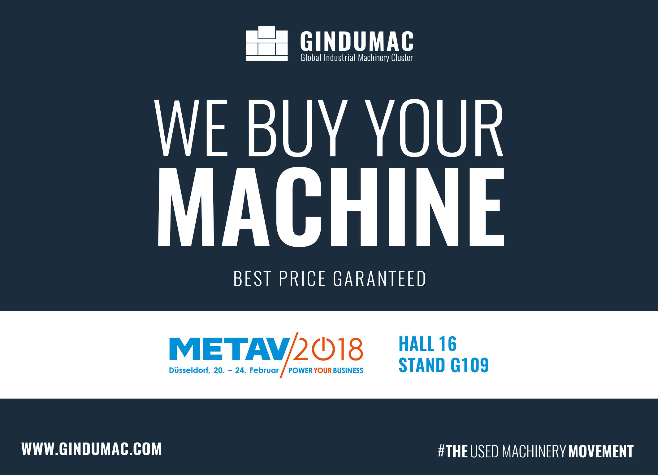 METAV 2018 - GINDUMAC GmbH - We buy Used Machine Tools